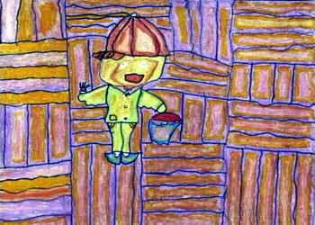 《小猪比赛》儿童画 《我想月亮婆婆》儿童画
