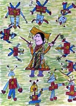 《奥特曼大战皇后》儿童画作品欣赏