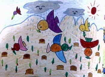 《快乐池塘》儿童画图片