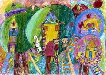 《到月球去》儿童画作品欣赏