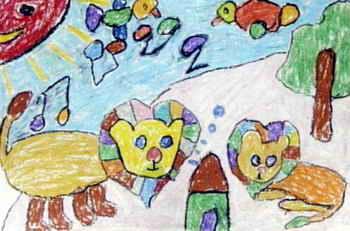 兒童畫畫大全 兒童油畫棒畫  《聽音樂的獅子》兒童畫作品欣賞下載