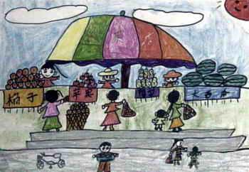 《热闹的菜市场》儿童画2幅(第2页)