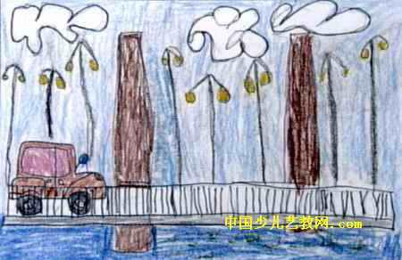 桥》儿童画属于水粉画,大小为292x450像素,作者郝彦泽,来自满洲