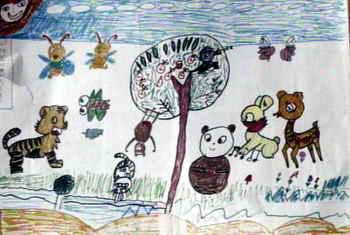 一个和平小使者》儿童画  《动物园》儿童画12幅(第6页)下载说明:在