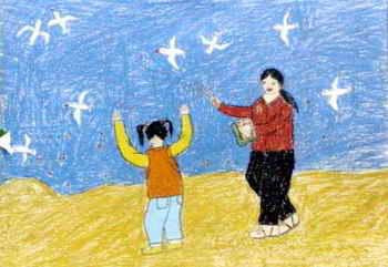 《喂海鸥》儿童画