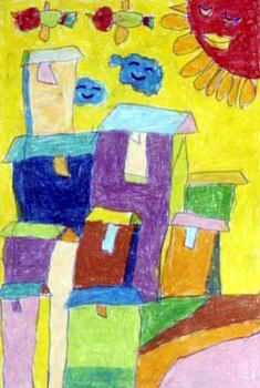 《未来的家》儿童画属于油画棒画,长350px,宽235px,作者于秉哲,男,4岁