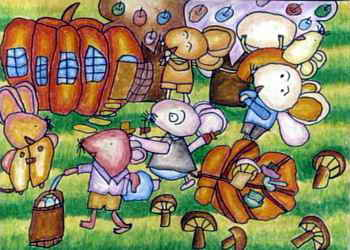 《乡情》儿童画 《快乐的游乐场》儿童画3幅
