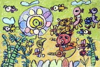 《动物园》儿童画属于油画棒画