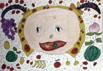 儿童画 《麦田里》儿童画