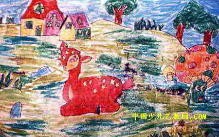 儿童画画大全 儿童油画棒画  《可爱的小鹿》儿童画4幅下载说明:在