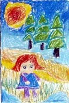 《郊游去》儿童画属于水彩画,大小为350x235像素,作者桂沁宜,来自山西