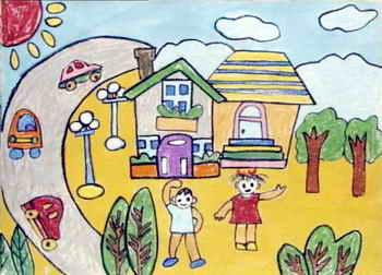 我的家绘画图片_《我心中的家》儿童画2幅