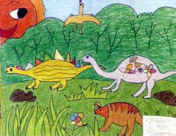 儿童画画大全 儿童水彩画  《恐龙乐园》儿童画4幅下载说明:在图片上