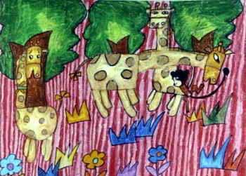 《借长颈鹿过桥》儿童画属于油画棒画,作品长251px,宽350px,作者陈