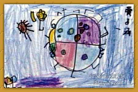 """《瓢虫》儿童画下载说明:在图片上点击鼠标右键选择""""图片另存为""""即可。  《瓢虫》儿童画,此幅中国画尺寸为299x450像素,作者贾子涵,来自石家庄市乐高幼儿园,女,4岁。"""
