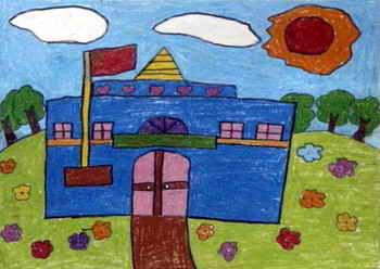 《我向往的校园》儿童画图片