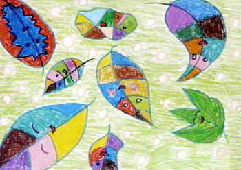 《落叶飘飘》儿童画作品欣赏