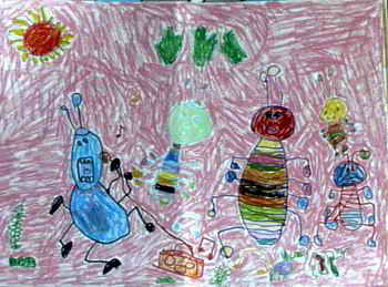 小蚂蚁过 六一 儿童画作品欣赏