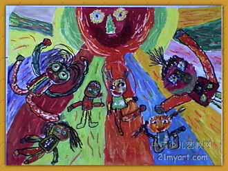 《太阳妈妈》儿童画3幅