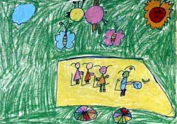 《坐车》儿童画2幅