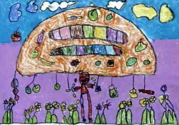 太阳公公月亮 婆婆 送礼 儿童画
