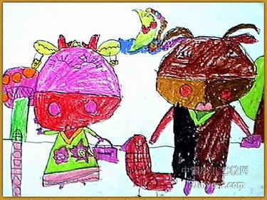 牛小姐和牛先生 儿童画作品欣赏