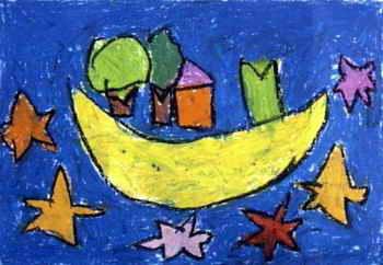 《我想住在月亮上》儿童画,此幅油画棒画大小为242x350像素,作者杨