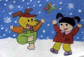 《冬天不怕冷》儿童画作品欣赏