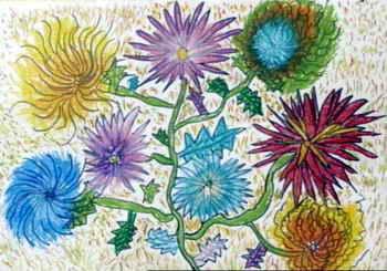《菊花》儿童画8幅