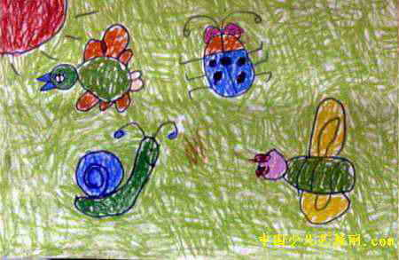 《动物聚会》儿童画2幅