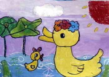儿童画画大全 儿童水墨画 《小鸭子》儿童画4幅(第2页)下载说明:在图