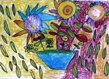 《花盆》儿童画4幅
