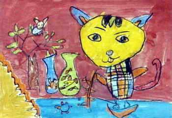 《小猫钓鱼》儿童画(一)8幅(第6页)下载说明:在图片上点击鼠标右键选择图片另存为即可。  《小猫钓鱼》儿童画属于油画棒画,大小为241x350像素,作者王琛,来自南阳市星光幼儿园,男,5.5岁。 上一页 [1] [2] [3] [4] [5] [6] [7] [8]