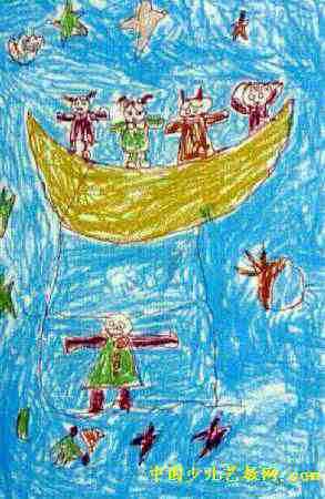 儿童画画大全 儿童油画棒画  《月亮像小船在银河游》儿童画下载说明