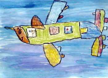 《蝗虫飞机》儿童画作品欣赏