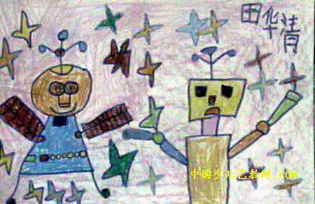 儿童画画大全 儿童油画棒画  《机器人》儿童画7幅下载说明:在图片上
