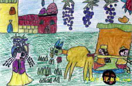 《美丽的新疆》儿童画作品欣赏
