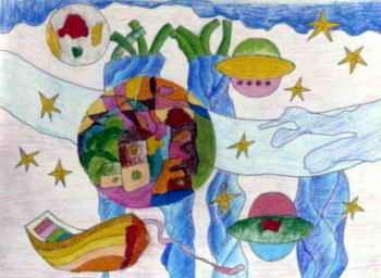 《美丽的星空》儿童画,此幅油画棒画大小为256x350像素,作者程雯婷