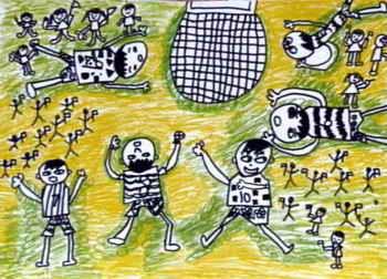 足球运动员 儿童画图片