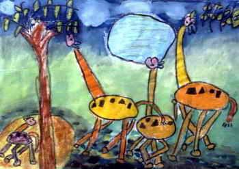 《好嫩的叶子》儿童画作品欣赏