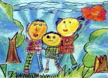 快乐的秋游》儿童画属于油画棒画,大小为255x350 ...