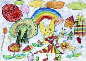 《猫妈妈走亲戚》儿童画作品欣赏