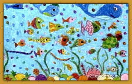《海底世界》儿童画属于油画棒画,大小为289x450像素,作者林丹敏,来自