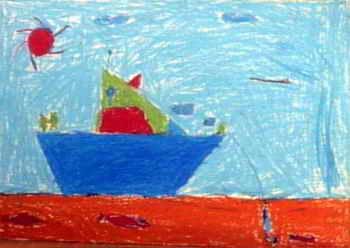 """《红海捕鱼》儿童画下载说明:在图片上点击鼠标右键选择""""图片另存为""""即可。  《红海捕鱼》儿童画属于油画棒画,大小为248x350像素,作者王一真,来自海口美舍实验学校,男,10岁。"""