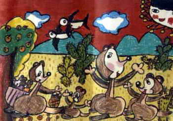 《快乐的袋鼠一家》儿童画