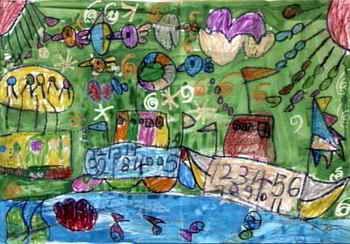 儿童画画大全 儿童油画棒画  《海洋与天空》儿童画下载说明:在图片上