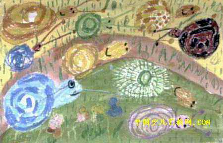《小蜗牛》儿童画4幅下载说明:在图片上点击鼠标右键选择图片另存为即可。  《小蜗牛》儿童画,此幅油画棒画尺寸为288x450像素,作者高智威,来自广东省珠海市拱北东亚幼儿园,男,5岁。 [1] [2] [3] [4]