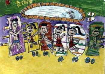 《海滩》儿童画