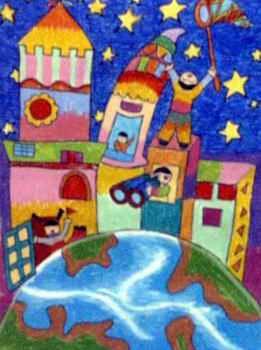 儿童画属于水彩画,长350px,宽261px,作者邱柔菁,来自绿方格美术室,女