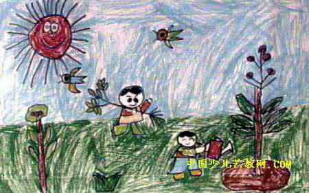 《爱护小树苗》儿童画2幅